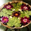Leaves with flowers in a birdbath — Stock Photo