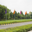Flags at roadside, Shanti Path — Stock Photo
