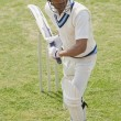 Cricket batsman playing a defensive stroke — Stockfoto