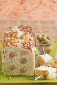 Ham and olive stuffed bread — Stock Photo