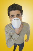 Businessman wearing pollution mask — Foto de Stock