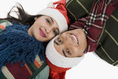 Couple wearing Santa hat — Stock Photo