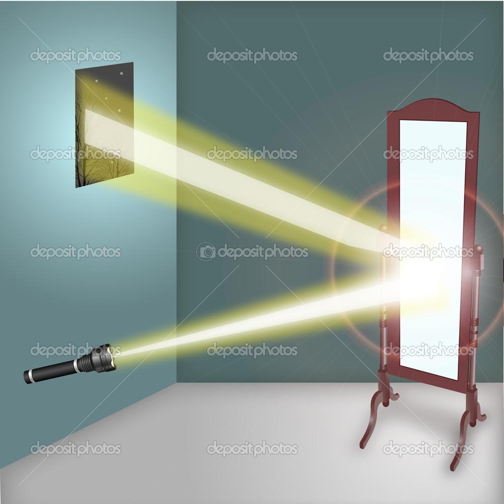 Reflet de la lampe de poche dans le miroir photo 33043981 for Reflet dans le miroir
