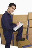 Store manager counting cardboard boxes — Stock Photo