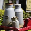 Stock Photo: Milk canisters in front of store