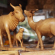 Figurines of animals at a market stall — Stok fotoğraf