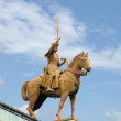 Equestrian statue at a church — Stock Photo