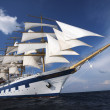Stock Photo: Clipper ship in sea