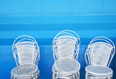 White metallic chairs — Stock Photo