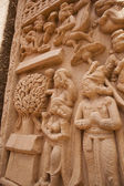 Carving detail on the ancient stupa at Sanchi — Stock Photo
