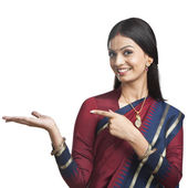 Traditionally Indian woman gesturing — Stock Photo