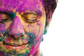 Mans face covered with powder paint — Stock Photo