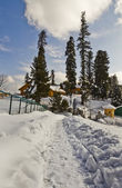 Snow covered tourist resort, Kashmir — Stock Photo