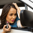 Woman sitting in a car — Stock Photo