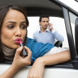 Woman in a car with her boyfriend — Stock Photo
