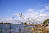 Chinese fishing nets at a harbor — Stock Photo