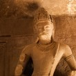 Statue at Elephanta Caves — Stock Photo