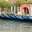 Gondolas anchored in canal — Stock Photo #33288335