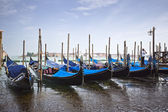Gondolas moored at dock — Stock Photo