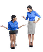 Businesswoman talking to her clone — Stock Photo