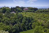Garden with Castello Delle Quattro Torra hotel — Stock Photo