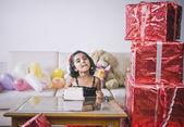 Girl eating a birthday cake — Stock Photo