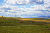 Wind turbines on a hill — Stock Photo