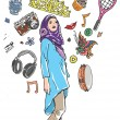 Stock Vector: Muslim girl's hobbies