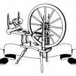 Stock Vector: Cotton weaving spinning wheel