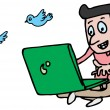 Man twitting on laptop — Stock Vector
