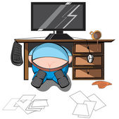 Man looking under the table — Stockvector