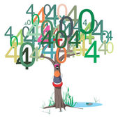 404 error message on a tree — Stockvector