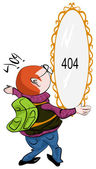 Man looking at 404 mirror on the wall — 图库矢量图片