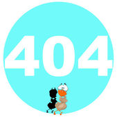 404 error message with 007 Bond Duck — Vector de stock