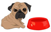 Puppy and his food bowl — Stock Vector