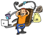 Man on gadget chair — Stock Vector