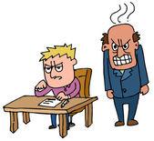 Boss standing beside frustrated employee — Stock Vector