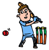 Cricketer batting — Vecteur