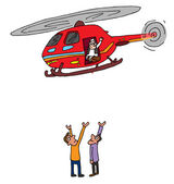Indian politician helicopter visit — Stock Vector