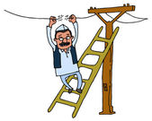 Kejriwal fixing electricity — Vector de stock