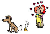 Dog Poo and Love Birds — Vector de stock