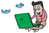 Man twitting on laptop — Stockvector