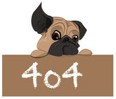 Puppy with 404 error message — Stockvector