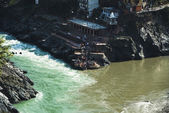 Confluence of the Alaknanda and Bhagirathi rivers to form the Ga — Foto de Stock
