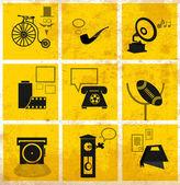 Iconos retro medios — Vector de stock