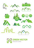 Illustration of Green house vector Icons — Vector de stock
