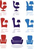 Koltuk, sandalye, mobilya set — Stok Vektör