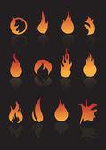 Ilustracja płomień zestaw ikon — Wektor stockowy