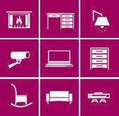 Illustration of living room equipment set — Stock Vector