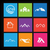 Illustration of Set of house icons — Stock Vector